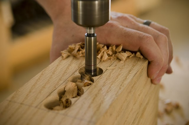 Boring out a mortise with a drill press and forstner bits
