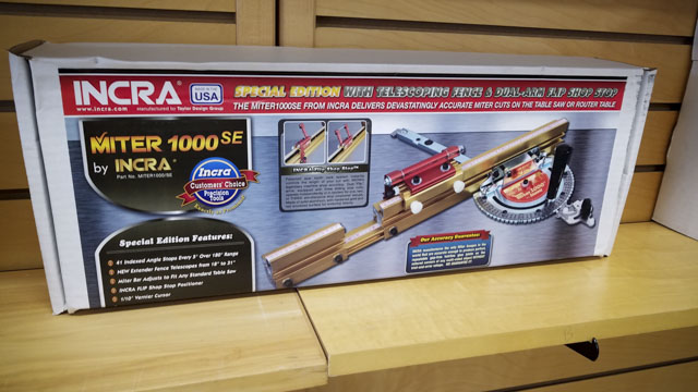 Incra MITER1000SE Miter Gauge retail box on a woodworking store shelf