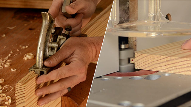 cutting tongue & groove joint with a handplane and with a router bit