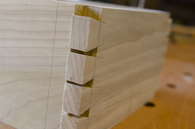 Dovetail joint before the pins are scribed