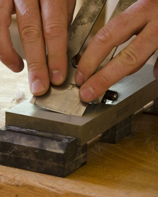 Sharpening A Cambered Handplane Iron On A Water Stone With A Honing Guide