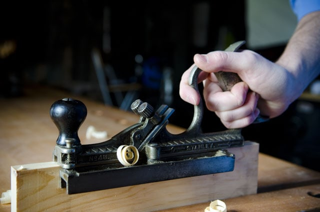Stanley 48 Tongue & Groove plane cutting a tongue on a board
