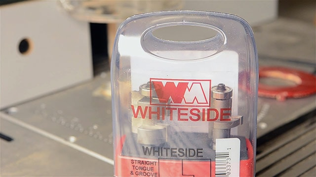 Whiteside router bit box containing tongue and groove router bit set