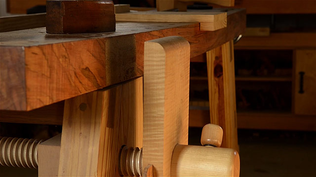 Curly maple leg vise on a portable moravian workbench