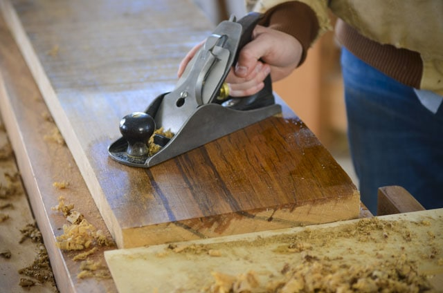 Joshua Farnsworth'S Hand On A Stanley No. 4 1/2 Smoothing Plane Handplaning An Exotic Lumber Board