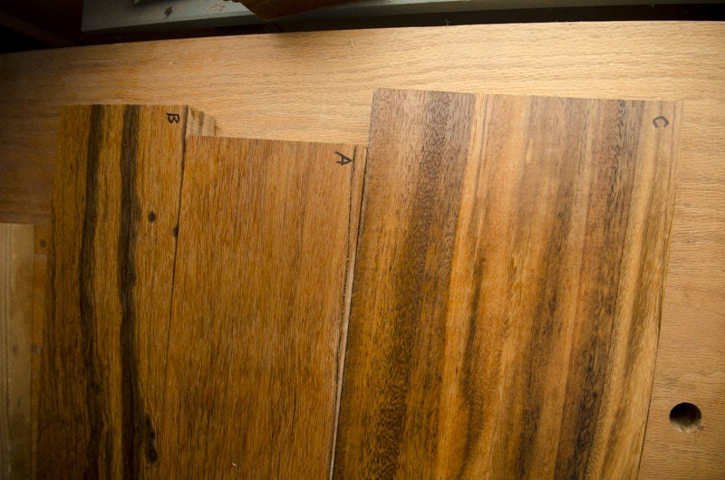 Exotic hardwood lumber sample boards for identification three boards