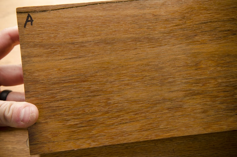 Exotic hardwood lumber sample boards for identification face grain closeup