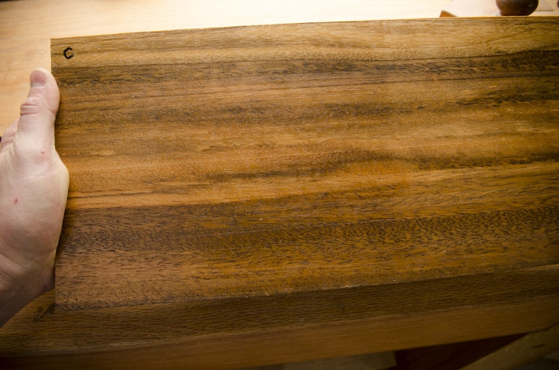 Exotic hardwood lumber sample boards for identification face grain