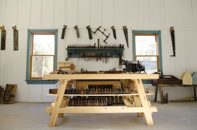 Portable Moravian workbench in the wood and shop traditional woodworking school
