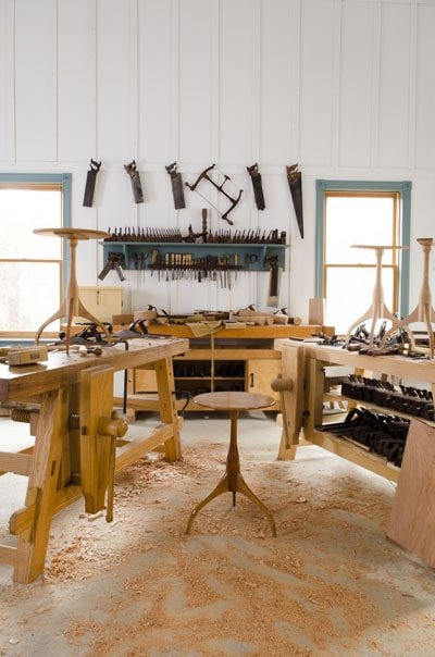 Workbenches in a traditional woodworking workshop