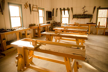 Wood and Shop traditional woodworking school with Moravian workbenches and Roubo workbenches