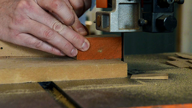 Cutting Wooden Wedges On A Bandsaw For Wedged Tenons