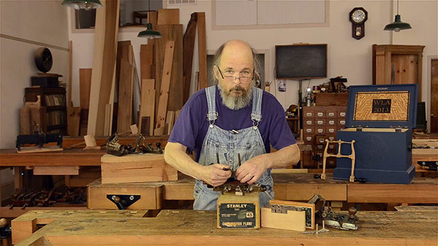 Bill Anderson rehabbing a Stanley 45 combination plane at Roy Underhill's Woodwright's School