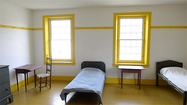 Hancock Shaker Village bedroom with milk painted furniture