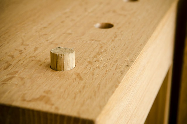 Wooden bench dog on a moravian workbench