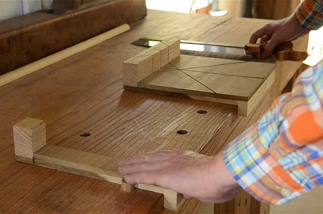 Miter Bench Hook On A Roubo Wooden Workbench