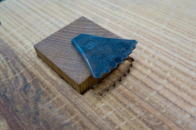 Hand Forged Metal Claw Hand Planing Stop In A Wooden Workbench Made By Blacksmith Peter Ross