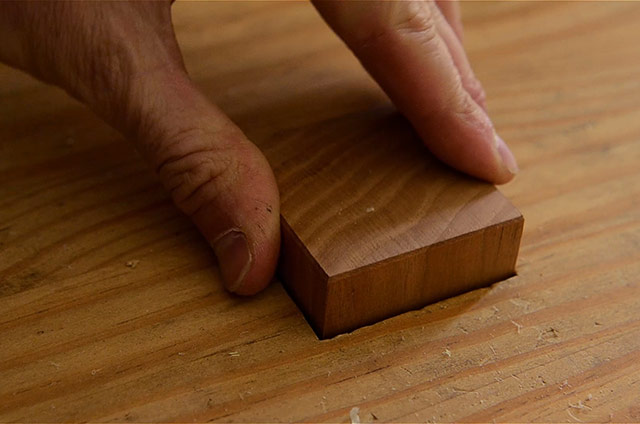 Workbench Hand Planing Stop Mortised Into Wooden Workbench Top