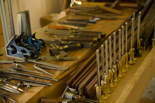 Moravian Workbench Filled With Woodworking Tools For Layout, Marking And Measuring