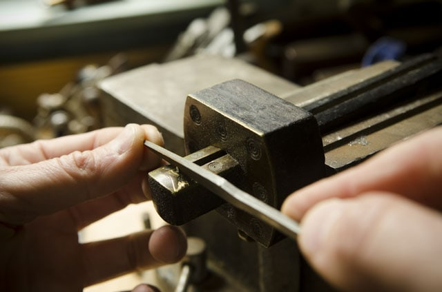 Filing The Round Pins Of An Antique Mortise Gauge