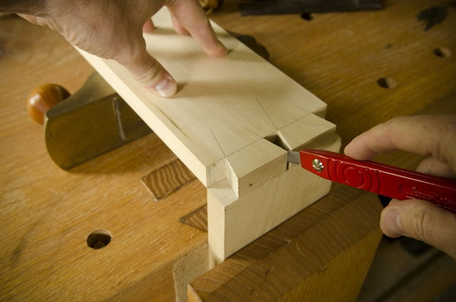 Red Swan Morton Dovetail Marking Knife Laying Out Dovetails On A Roubo Workbench