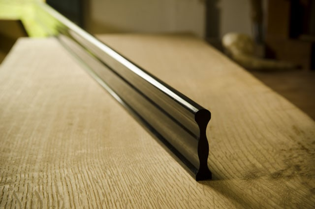 Metal Straight Edge Sitting On A Roubo Woodworking Workbench