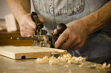 Bill Anderson Using A Combination Plane To Plow A Groove On A Pine Board
