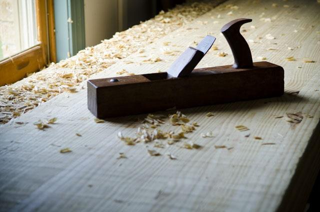 Wooden Jack Plane With Shavings While Flattening An Oak Roubo Workbench Top