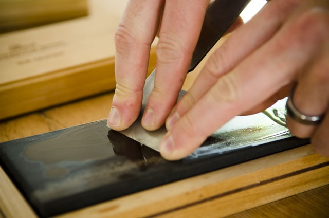 Sharpening A Woodworking Hand Plane Iron Or Blade On A Surgical Black Arkansas Sharpening Oil Stone