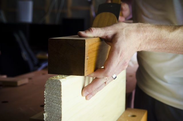 Joshua Farnsworth Using An 18Th Century Reproduction Jointer Plane To Joint The Edge Of A Board In A Workbench Vise