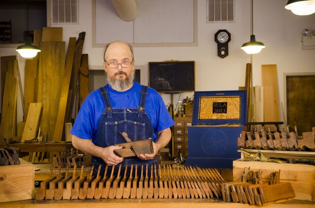 Bill Anderson with a full set of 36 hollows and rounds planes at Roy Underhill Woodwright's School