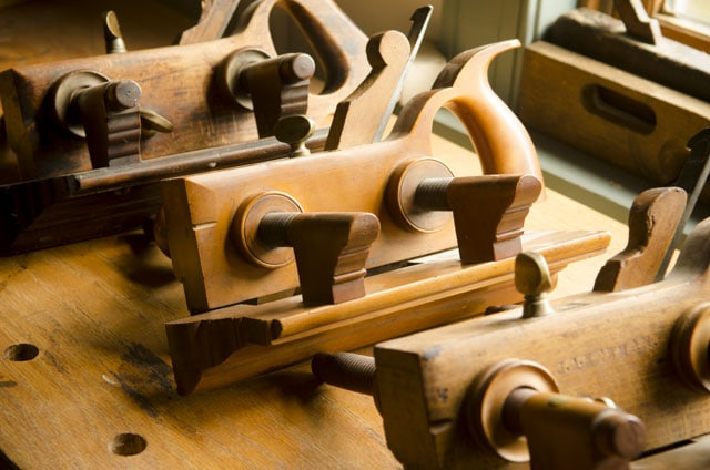 Wooden Plow Planes Sitting Side-By-Side