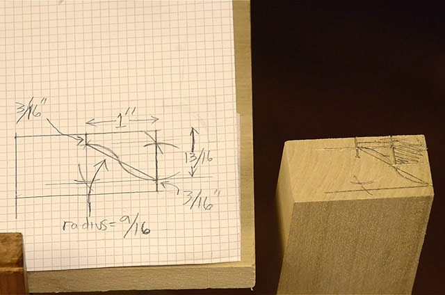 Laying out a molding profile on grid paper and wood for a hollow and round molding