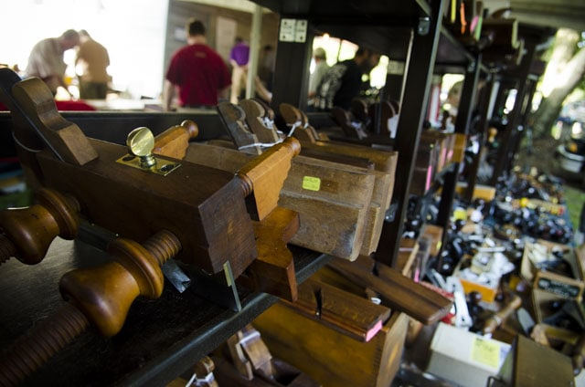 Shelves Full Of Antique Woodworking Tools At A Mid-West Tool Collector'S Association Sale