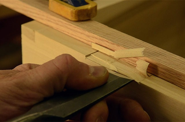 Installing Butt Hinges On A Dovetail Chest Using A Chisel To Cut The Mortise