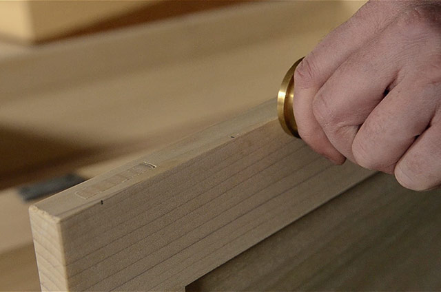 Using A Marking Gauge While Installing Butt Hinges On A Dovetail Chest