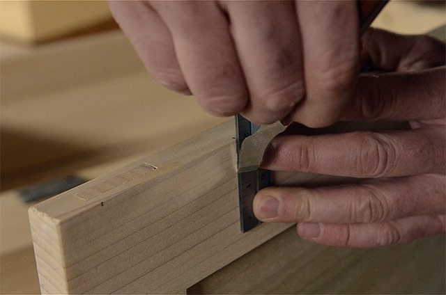 Marking A Mortise With A Marking Knife And Square While Installing Butt Hinges On The Lid Of A Dovetail Chest