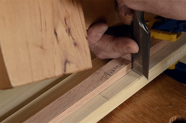 Deepening The Mortise Layout With A Chisel Marking A Mortise With A Marking Knife And Square While Installing Butt Hinges On The Lid Of A Dovetail Chest