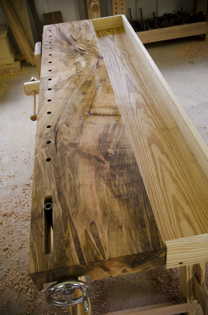 Moravian Workbench slab top made out of ambrosia maple