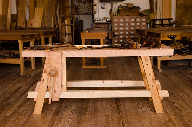 Portable Moravian workbench at Roy Underhill's Woodwright's School