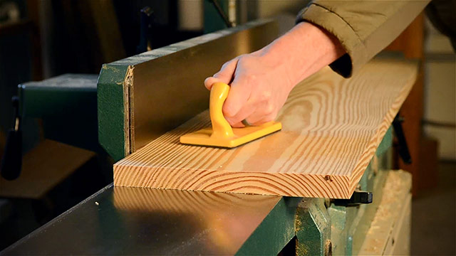 jointing a wide board on a grizzly jointer