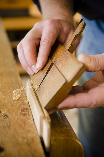 Will Myers Using A Molding Plane While Making The Isaac Youngs Shaker Wall Clock